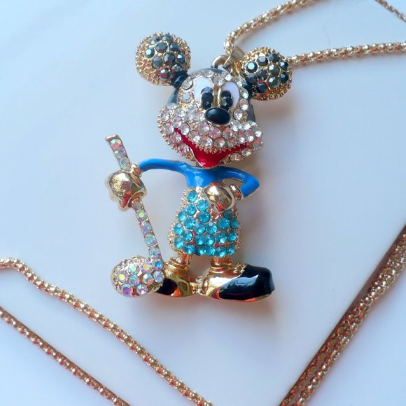 ❤️ NEW Necklace Rhinestone Micky Mouse Bobble Head